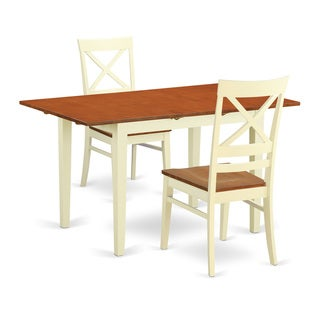 Contemporary Off-White and Cherry Finish Wood 3-Piece Dining Table and Chair Set