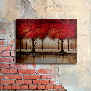 Rio 'Parade of Red Trees' Floating Brushed Aluminum Art