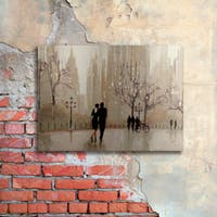 Julia Purinton 'An Evening Out Neutral' Floating Brushed Aluminum Art