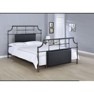 Xava Black Faux Leather and Metal Queen Bed