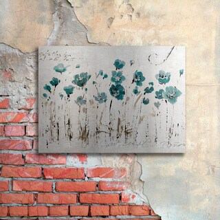 Lisa Audit 'Abstract Balance VI Blue' Floating Brushed Aluminum Art