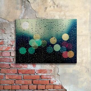 Beata Czyzowska Young 'Rainy City' Floating Brushed Aluminum Art