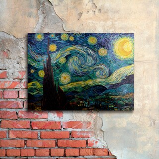 Vincent van Gogh 'Starry Night' Floating Brushed Aluminum Art