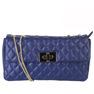 Rimen & Co. Women's Faux Leather Quilted Flap Metal Chain Strap Crossbody Evening Handbag