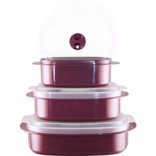 Reston Lloyd Calypso Basics Plum Plastic 3-piece Microwave Steamer Set