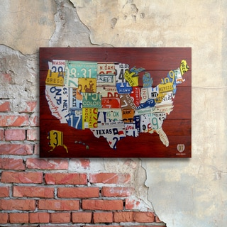 Design Turnpike 'License Plate Map USA' Floating Brushed Aluminum Art