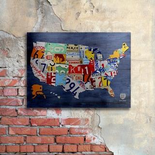 Design Turnpike 'USA Map' Floating Brushed Aluminum Art