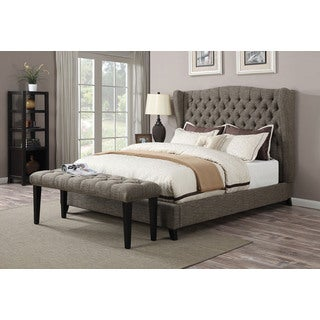Faye King 2-tone Chocolate Linen Bed