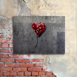 Banksy 'NYC Love' Floating Brushed Aluminum Art