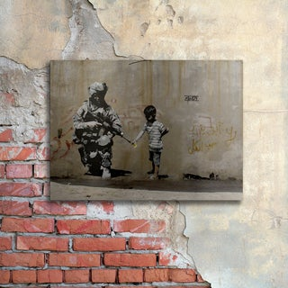 Banksy 'Peace' Floating Brushed Aluminum Art