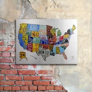 Design Turnpike 'License Plate USA 2' Floating Brushed Aluminum Art