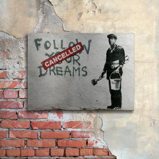 Banksy 'Cancelled Dreams' Floating Brushed Aluminum Art