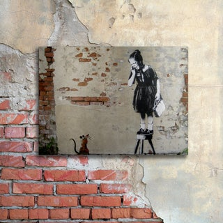 Banksy 'Ratgirl' Floating Brushed Aluminum Art