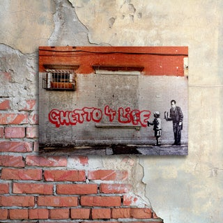 Banksy 'Ghetto For Life' Floating Brushed Aluminum Art