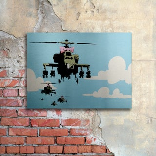 Banksy 'Vapor Helicopter UAV' Floating Brushed Aluminum Art
