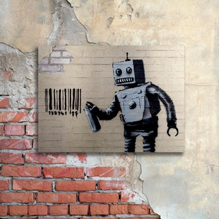 Banksy 'Robot' Floating Brushed Aluminum Art