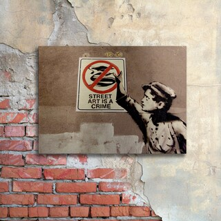 Banksy 'Street Art is a Crime' Floating Brushed Aluminum Art