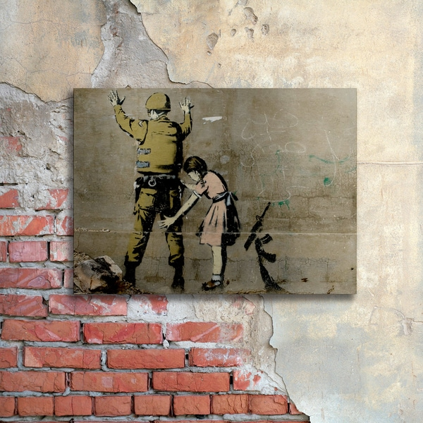 Shop Banksy  War  Floating Brushed Aluminum Art - Free Shipping ... 48827d282