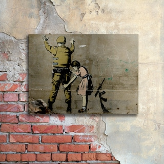 Banksy 'War' Floating Brushed Aluminum Art