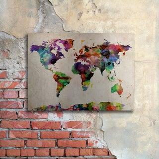 Michael Tompsett 'Watercolor World Map' Floating Brushed Aluminum Art
