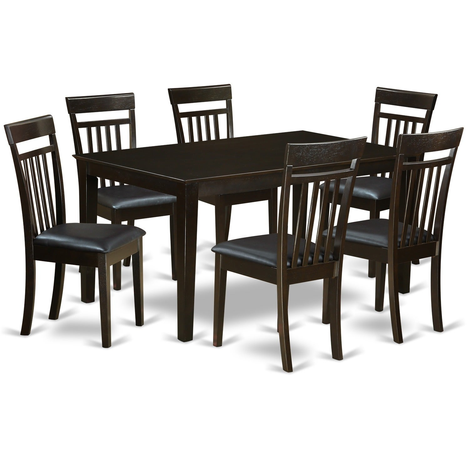 Cappuccino Finish Rubberwood 7-piece Dining Room Set with...