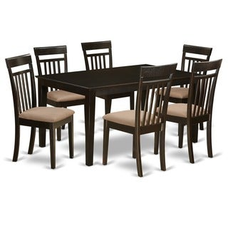 Cappuccino Finish Rubberwood 7-piece Dining Room Set with Dining Table, and 6 Chairs