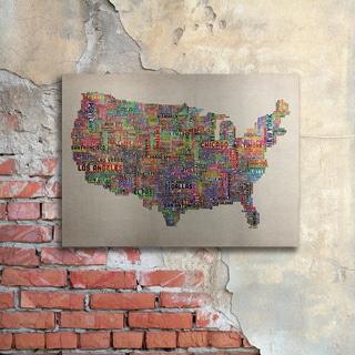 Michael Tompsett 'US Cities Text Map VI' Floating Brushed Aluminum Art
