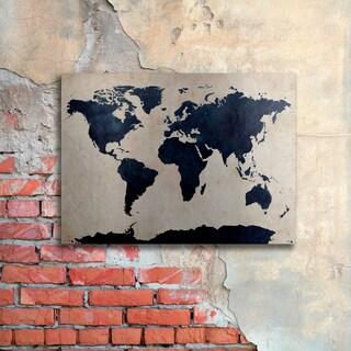 Michael Tompsett 'World Map - Navy' Floating Brushed Aluminum Art