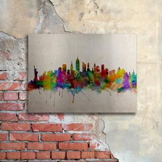 Michael Tompsett 'New York Skyline' Floating Brushed Aluminum Art