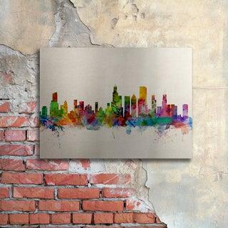 Michael Tompsett 'Chicago Illinois' Floating Brushed Aluminum Art
