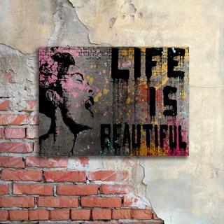 Banksy 'Life is Beautiful' Floating Brushed Aluminum Art