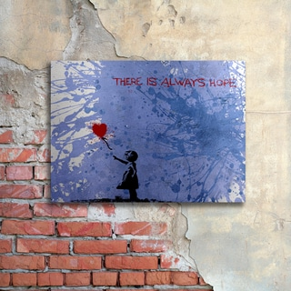 Banksy 'There Is Always Hope' Floating Brushed Aluminum Art