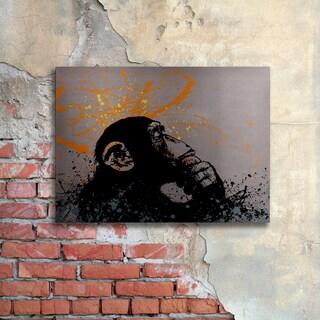 Banksy 'The Thinker' Floating Brushed Aluminum Art
