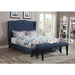 Faye Eastern King Bed Blue Linen (1Set/2Ctn)