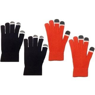 MinxNY Black and Orange Polyester Unisex Touchscreen Gloves (Set of 2)