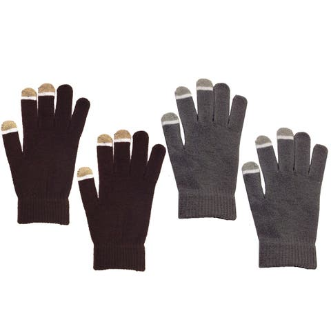MINXNY Brown/Grey Unisex Touchscreen Gloves (Set of 2)