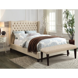 Faye 20644CK Beige Tufted Linen and Espresso California King Bed Set