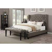 Faye 2-tone Chocolate Linen Queen Bed
