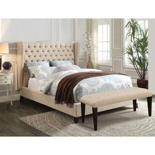 Faye Beige/Espresso King-size Linen Bed