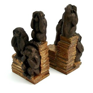 3 Wise Monkeys Brown Brass Bookends