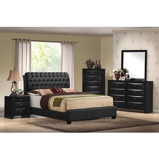 Ireland II Black Faux-leather Upholstered Button-Tufted Eastern King Bed