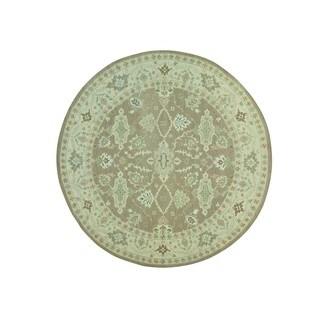 Round Soumak Brown Wool Handwoven Flatweave Mahal Design Rug (9'10 x 9'10)