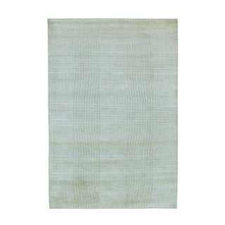 Nepali Tone-on-tone Wool and Silk Hand-knotted Oriental Rug (4'1 x 6')
