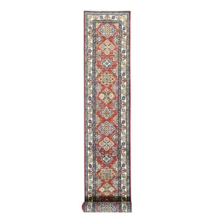 Red Wool Hand-knotted Tribal Design Kazak Runner Rug (2'6 x 19'4)