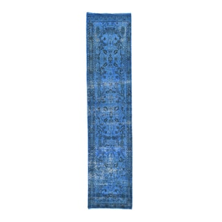 Hand-knotted Blue Wool Worn Overdyed Persian Bibikabad Runner Rug (2'5 x 10'4)
