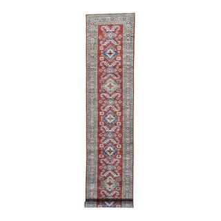 Super Kazak Red Tribal Design Hand-knotted Runner Carpet (3'2 x 16'5)
