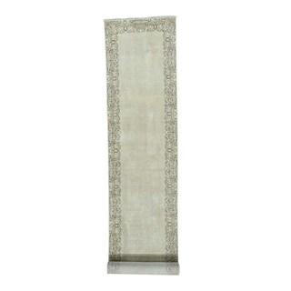 Tabriz Beige Wool Hand-knotted Antique Runner Rug (3'x16'9)