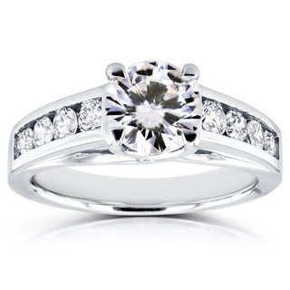 Annello by Kobelli 14k White Gold 1ct Forever Brilliant Moissanite and 1/2ct TDW Diamond Engagement