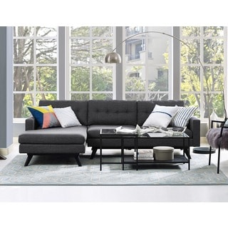 Blake LAF Grey Linen and Wood Button Tufted Back Sectional Sofa