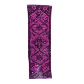 Persian Hamadan Overdyed Hand-knotted Runner Rug (2'10 x 9'1)